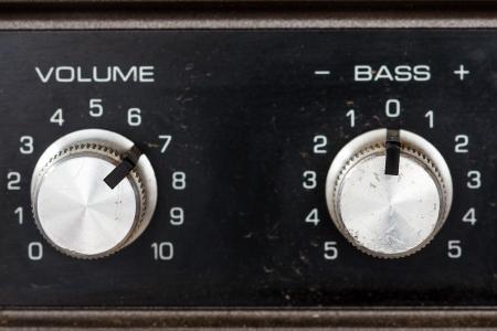 Retro sixties hi-fi amplifier controls detail white photo