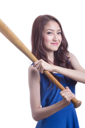 Asian girl holding a baseball bat. photo
