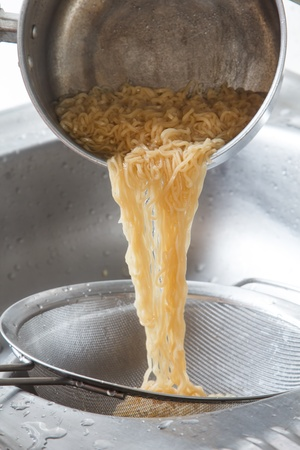 boiling water: Boiling water with noodles in the steel pan