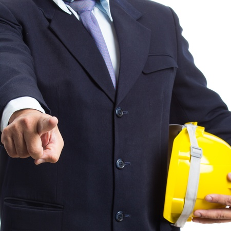 engineer holding helmet on white background photo