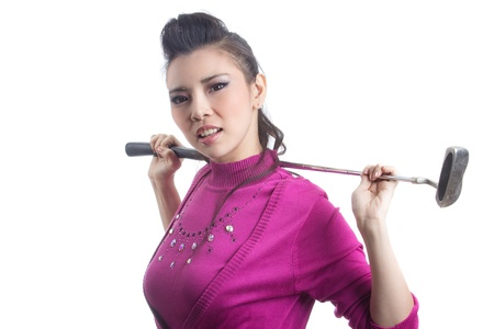 Pretty young lady golfer with golf club isolated on white background photo