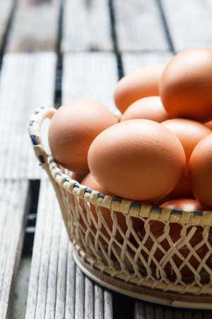 Fresh organic eggs in a wicker basket. photo
