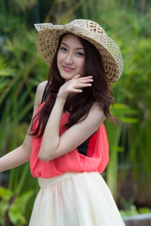 lifestyle looking lovely: Asian woman wearing a cute hat fashion. Stock Photo