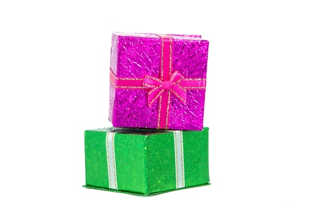 Green and pink gift box on a white background. photo