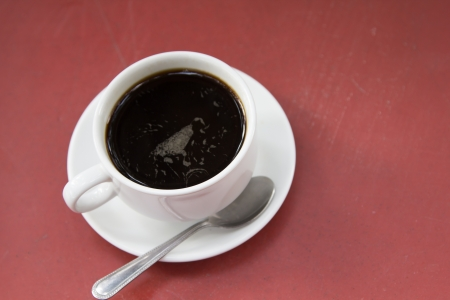 Black coffee served with sugar is the morning. photo