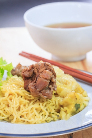 popular soup: Duck noodle soup is a popular food.