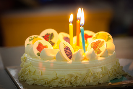 aniversary: birthday cake with candles Stock Photo