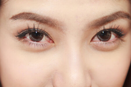 Closeup of beautiful Asian woman eyes photo