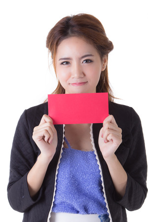 officer women in working suit showing red envelope photo