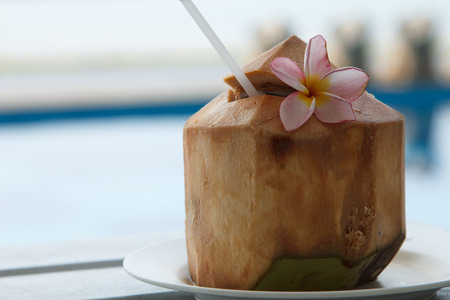 refreshment: Coconut water is placed on the table and refreshment.
