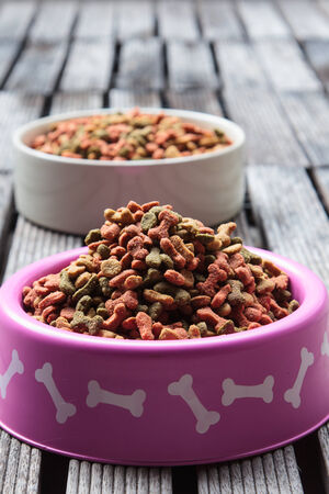 fodder: Dog food in a bowl on wooden table