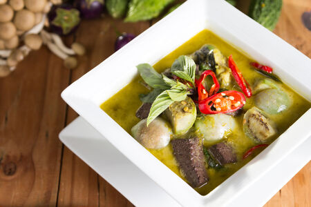 thai style beef or chicken green curry. photo