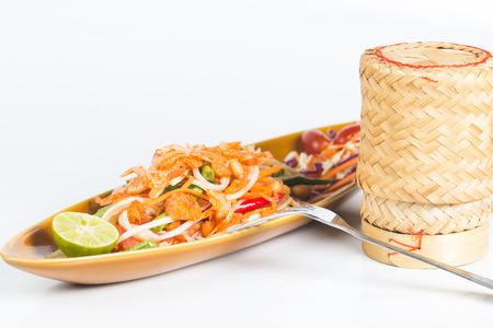 thai spicy salad or som tum thai photo