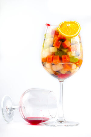thai fruit salad in cocktail glass and the dish photo