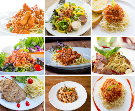 picture is Spaghetti set in different types photo
