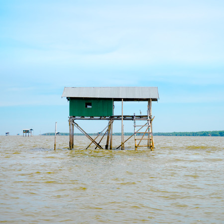 fisher: fisher house in the sea at thailand