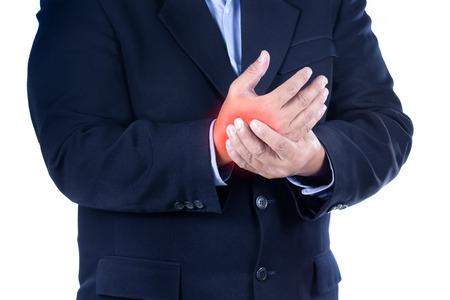 ergonomics: businessman with hand pain on white background