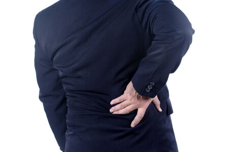 low back: businessman with low back pain on white background