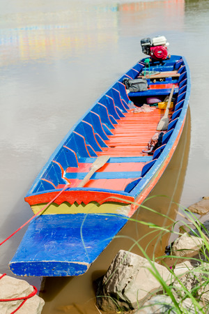 forlorn: close up boat moored at on the waterfront Stock Photo