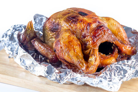 cutting bord: close up roast chicken is delicious on cutting bord