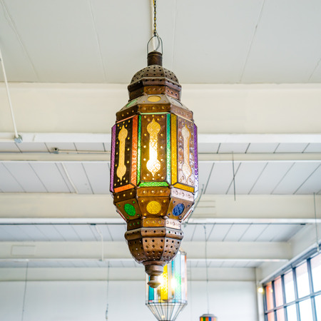 close up beautiful Vintage Lamp on the ceiling photo