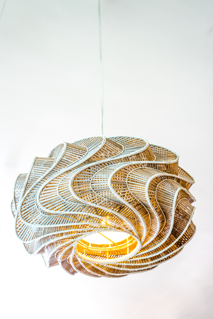 close up modern design of rattan ceiling lamps  on the ceiling photo