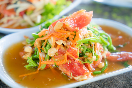 green papaya salad: green papaya salad in dinning table