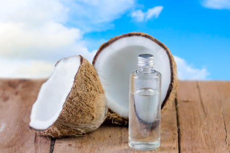 coconut and oil for natural spa on sky background