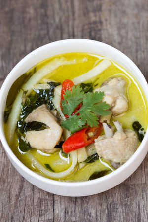 close up green chicken curry for thai food