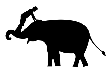 mahout: elephants and mahout silhouettes on white background