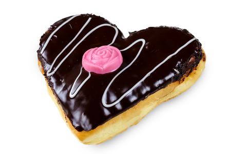 Heart Shaped Donut Schokolade auf weißem Hintergrund Standard-Bild - 38391813