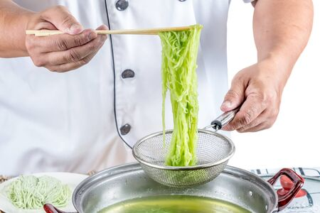 chef cooking for asian food menu name noodle photo