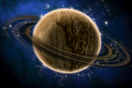 constellations: planet saturn with constellations Stock Photo