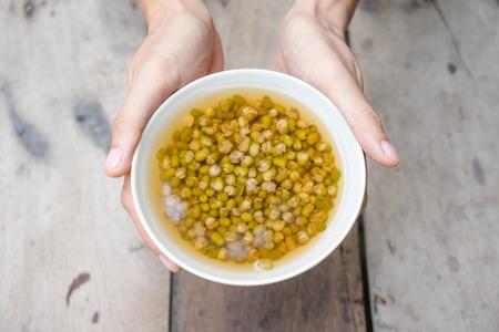 Boiled mung bean with sugar, thai dessert Stock Photo