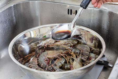 sauce bowl: Raw tiger shrimps with sauce bowl