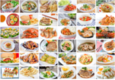 asian food: collage of food menu asian, american and chinese is blur