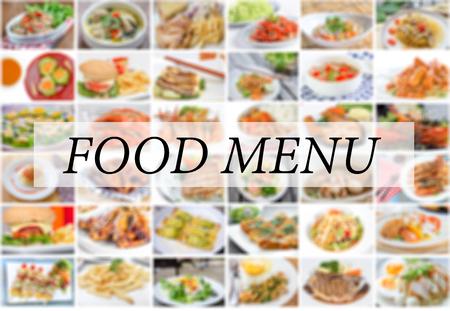Collage de menú de la comida asiática, americana y china