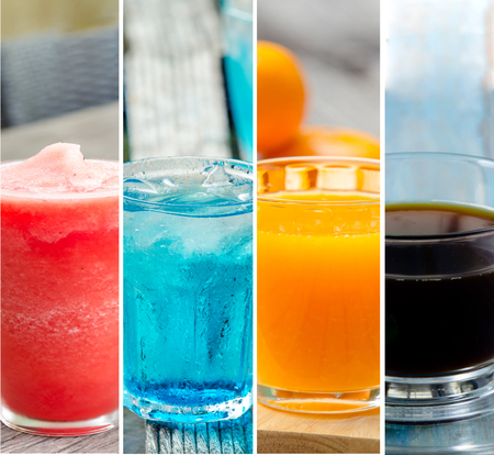 carbonation: collage of sweet water or cocktails Stock Photo