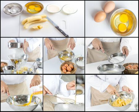 Collage of chef making banana cake in the kitchen room Stock Photo