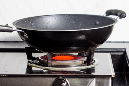 Black frying pan on gas stove