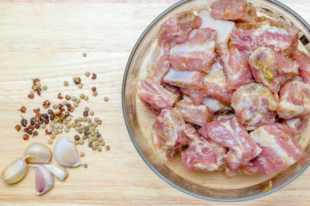 marinated: Raw pork ribs marinated in spices