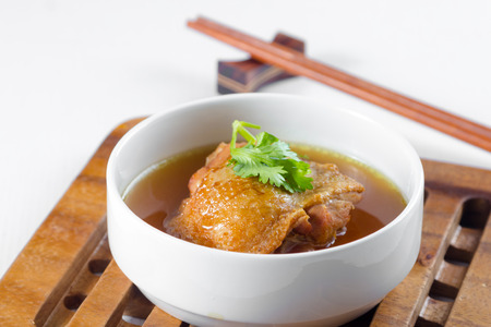 chinese herbs: chicken soup with Chinese herbs Stock Photo