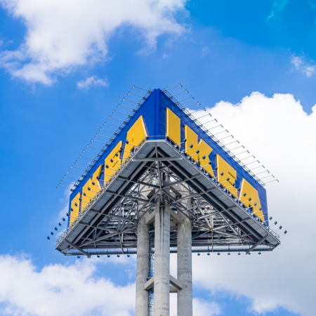 famous industries: BANGKOK, THAILAND - AUG 24, 2015: A big signage of IKEA in Bangkok, thailand
