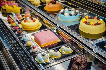 shop window: Cake displayed in shop window