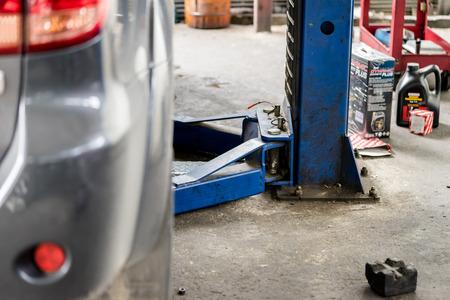 auto repair: car in auto repair service. Stock Photo