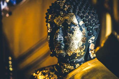 thai believe: old golden Buddha Statue in thailand Stock Photo