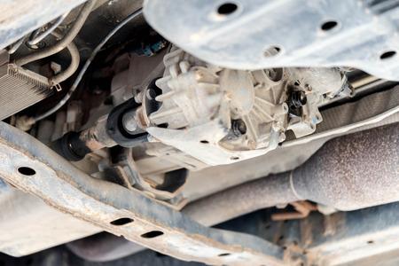 auto repair: car suspension in auto repair service. Stock Photo