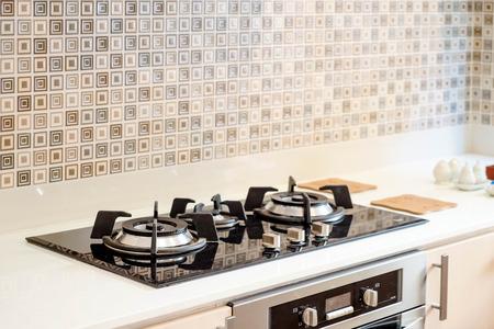 estufa de gas de cocina en la cocina