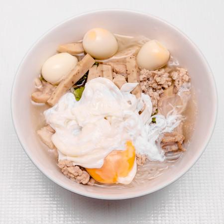 noodles soup: bowl of noodles soup with eggs Stock Photo