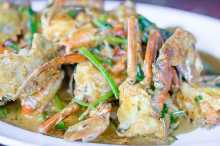 curry powder: Thai cuisine, Fried crab with curry powder Stock Photo